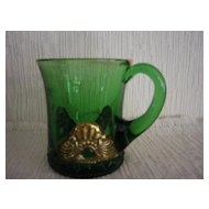 "Souvenir Pressed Green Glass Cup ""1912"""