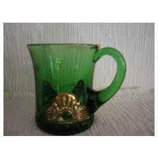 "Souvenir Pressed Green Glass Cup ""1912"""