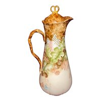 Antique Jean Pouyat Limoges Chocolate Pot with Hand Painted Berries
