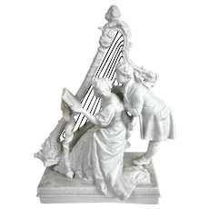 Parian Figurine Courting Couple at Harp