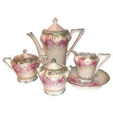 Lefton Misty Rose Coffee/Tea/Chocolate Set with Hand-Painted Coffee Pot, Sugar Bowl, Creamer, Plate & Biscuit Jar
