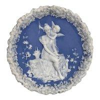 Antique Schafer & Vater Cobalt Blue Jasperware Cupid Plate/Plaque