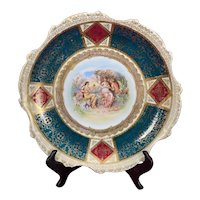 Antique Royal Vienna Style Plate Hand Painted Charger Artist Signed