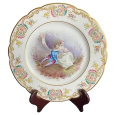 Antique Sevres Style Hand-Painted Plate with Children Artist Signed
