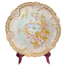 Antique Limoges VF Charger/Plate Hand Painted Flowers