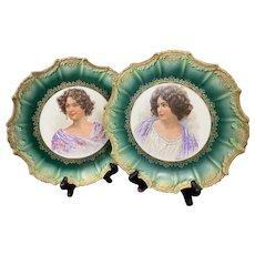 Antique Empire China E Vettori Signed Gibson Girl Portrait Plates