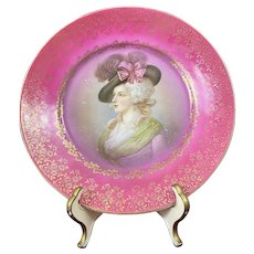 Hand Painted Gibson Girl Portrait Plate Pink