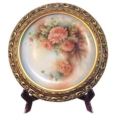 Helen Litkovitz Hand Painted Floral Charger in Ornate Gold Frame
