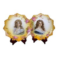 Antique Rosenthal Malmaison Royal Vienna Style Portrait Plates Gibson Girls