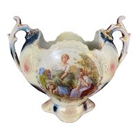 Antique Squat Double Handled Royal Vienna Style Hand Painted Vase Shepherdess