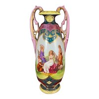 Antique Royal Vienna Style Portrait Vase Hand Painted Neoclassical Motif