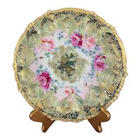 Antique Nippon Cobalt Hand Painted Plate Moriage Gold & Pink Roses with Maple Leaf