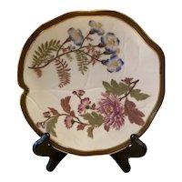 Antique Royal Worcester Floral & Gold Blush Ivory Leaf Shaped Plate c. 1887