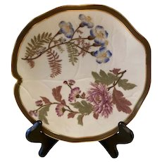 Antique Royal Worcester Floral & Gold Blush Ivory Leaf Shaped Plate c. 1887