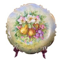 LS&S Carlsbad Austria Hand Painted Fruit Wall Plate Pears Blackberries Magnolias