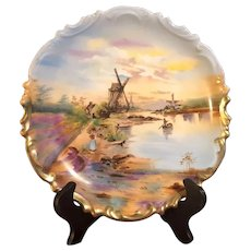 Hand-Painted Dutch Landscape Plate by LS&S Austria with Beehive Mark