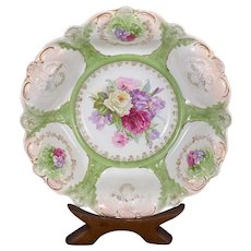 Antique Weimar Germany Porcelain Floral Bowl Hand Painted Pink Roses Irises Gilt