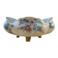 Jaeger & Co Malmaison German Porcelain Hand Painted Footed Trinket Dish/Nut Bowl