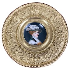 Antique Continental Hand Painted Child Portrait Plate Brass Repousse Frame