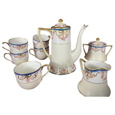 Nippon Tea Set Hand Painted Roses Moriage Maple Leaf Mark