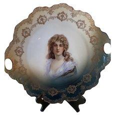 Antique Victorian Era Rosenthal RC Malmaison Portrait Plate Charger Platter