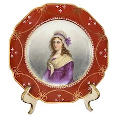 19th C. Haviland Limoges Hand Painted Portrait Plate Charlotte Corday French Royalist