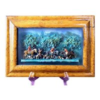 19th Century Victorian Era Wax Diorama Shadow Box English Fox Hunt Scene