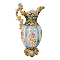 """Continental Hand Painted Majolica Jug Ewer Floral Flower Accents 14.75"""""""
