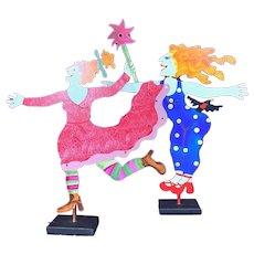 Judie Bomberger Veronica Black Crow & Fairy Cirque du Soleil Metal Sculptures