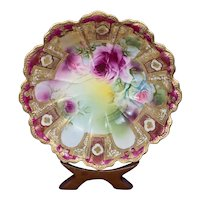 """Antique Nippon Bowl Hand Painted Pink & Blue Roses Gold Moriage Maple Leaf 11.5"""""""