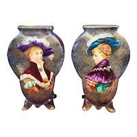 French Faience Hand Painted Portrait Vases Choisy Le Roi/Creil & Montereau