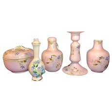 Antique Charles Field Haviland Limoges Pink Vanity Set
