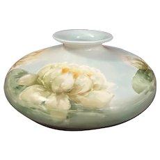 19th Century PH Leonard Austria Art Pottery Hand Painted Squat Vase Lotus Flower