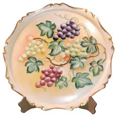 T & V Limoges France Decorative Charger with Hand-Painted Grapes