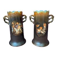 CT Altwasser Silesia Hand Painted Vases German Pottery Peasant & Rural Life