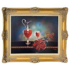 Huge Original Teimur Amiry Still Life Oil Painting on Canvas Red Wine & Roses