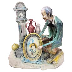 Lo Scricciolo Italia Toni Moretto Sculpture Figure Antique Dealer Peddler