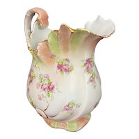 Antique Empire Works Stoke on Trent England Pitcher Vase Pink & Green Flowers