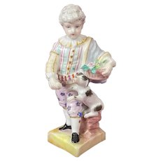 Antique Meissen Child Figurine Boy Feeding Dog c. 1700's