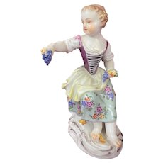 Antique Meissen Child Figurine Seated Girl with Grape Bunches c. 1920s