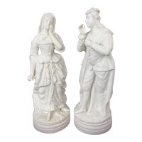 19th Century Copeland Style Parian Ware Courting Couple Figurines