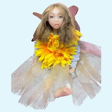 OOAK Hand-Sculpted Polymer Clay Fairy Art Doll Lilly Soft Body Signed (Brunette)