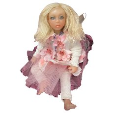 OOAK Hand-Sculpted Polymer Clay Fairy Art Doll Lilly Soft Body Signed (Blonde)