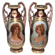 Antique Royal Vienna Style Portrait Vases with Blue Beehive/Shield Mark