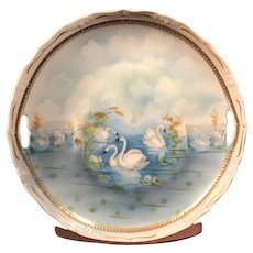 German Hand-Painted Swans Plate with Pierced Handles & Scalloped Edges