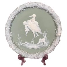 Antique Shafer & Vater Jasperware Green Wall Plaque Stork & Babies