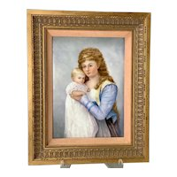 T & V Limoges France Hand Painted Wall Plaque Mother and Child c. 1890's