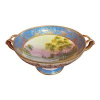 Hand Painted Nippon Moriage Gold Pedestal Bowl w/ Handles