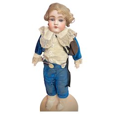 Early Kestner 145 Bisque Shoulder Head Doll Org Mohair Wig Child Leather Body styled as Little Lord Fauntleroy