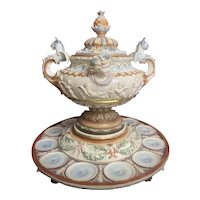 Antique Majolica Hugo Lonitz Renaissance Revival Punch Bowl Centerpiece Jeweled